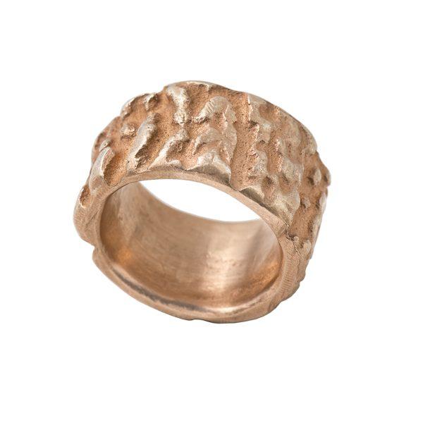 BREITENBERG – Ring mit Hirschhornstruktur vergoldet