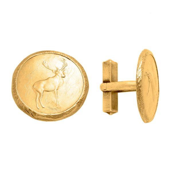 NORDGIPFEL – goldene Manschettenknöpfe mit Hirschmotiv
