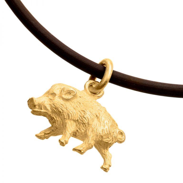 Wildschwein in Gelbgold – Jagdschmuck von Pia Laflör